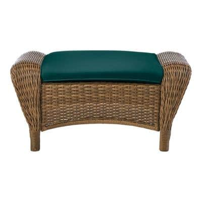 Beacon Park Brown Wicker Outdoor Patio Ottoman with CushionGuard Malachite Green Cushions