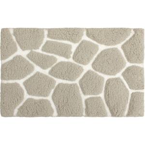 Super Plush Light Gray/White 20 in. x 32 in. Pebble Microfiber Bath Rug