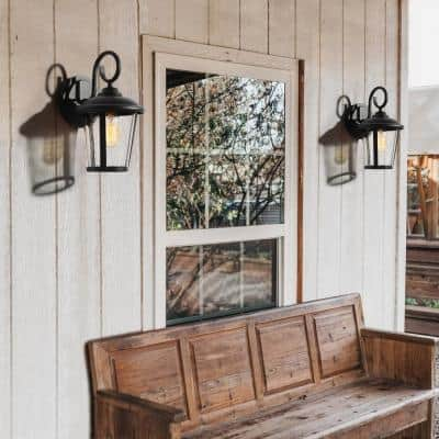 Exton 1-Light Rustic Matte Black Non- Solar Outdoor Wall Lantern Sconce Light with Seeded Glass Shade (2-Pack)