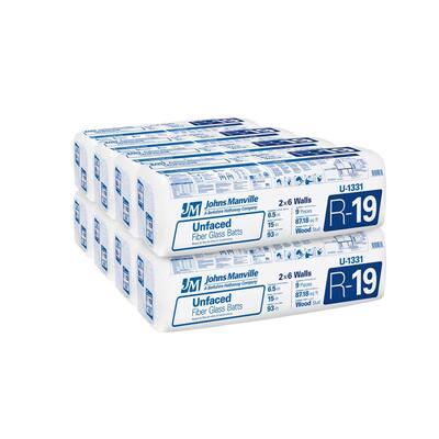 R-19 Unfaced Fiberglass Insulation Batt 15 in. x 93 in. (8-Bags)