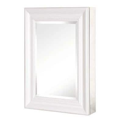 15 in. W Framed Recessed or Surface-Mount Bathroom Medicine Cabinet with Deco Framed Door Bathroom in White