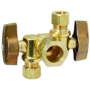 1/2 in. Nom Comp Inlet x 3/8 in. O.D. Comp x 3/8 in. O.D. Comp Dual Outlet Dual Shut-Off 1/4-Turn Angle Ball Valve