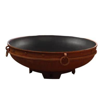Emperor 37 in. x 37 in. Round Carbon Steel Natural Gas Fire Pit in Iron Oxide with Lava Rock, Flex Line Kit and Plate