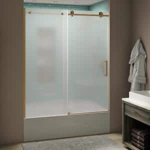 Coraline xL 56 - 60 in. x 70 in. Frameless Sliding Tub Door with Ultra-Bright Frosted Glass in Brushed Gold
