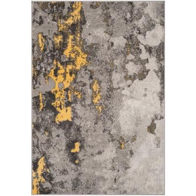 Adirondack Gray/Yellow 8 ft. x 10 ft. Abstract Area Rug