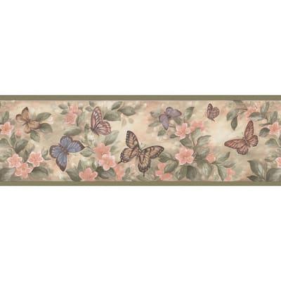 Butterflies Green Wallpaper Border