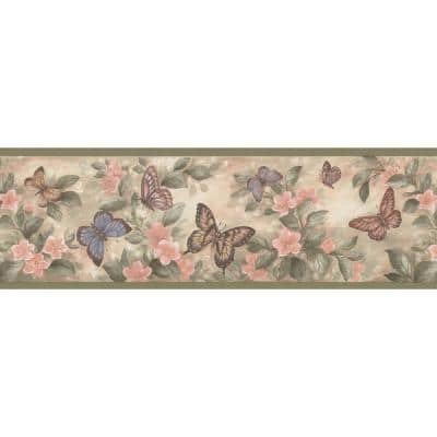 Butterflies Olive Wallpaper Border Sample