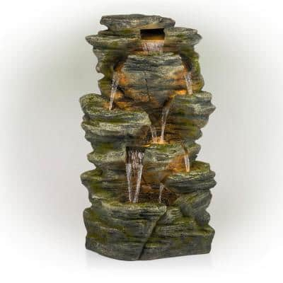 51 in. Tall Indoor/Outdoor Waterfall Rock Fountain with LED Lights
