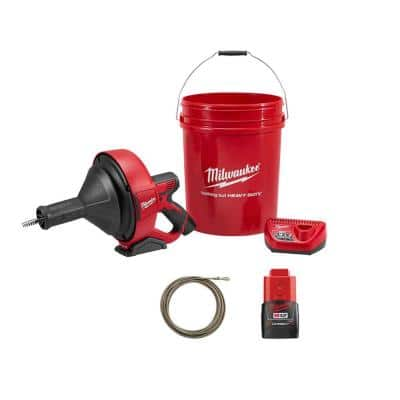 M12 12-Volt Lithium-Ion Cordless Auger Snake Drain Cleaning Kit M12 with 2.0Ah Battery and Cable