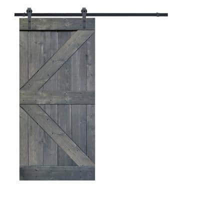 K Series 36 in. x 84 in. Gray Stained Knotty Pine Wood Interior Sliding Barn Door with Hardware Kit