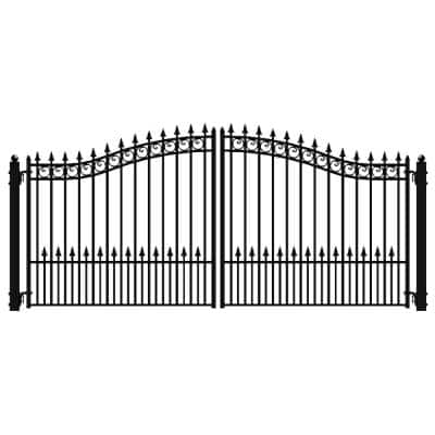 Prague Style 16 ft. x 6 ft. Black Steel Dual Driveway Fence Gate
