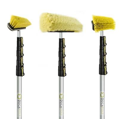 High Reach Brush Kit w/6 ft. to 24 ft. Extension Pole- Includes Soft Bristle Medium Bristle & Hard Bristle Scrub Brushes
