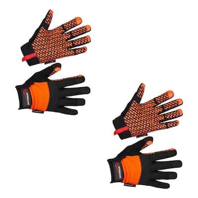 Small/Medium, Black/Orange, Super Grip Gloves, Non-Slip Textured Palm, Hook and Loop Wrist Strap (2-Pairs)