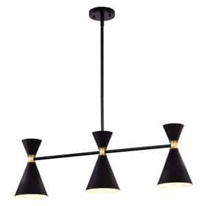 3-Light Black Island Pendant Light with Brass Accents