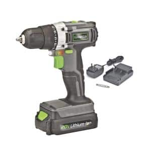 20-Volt Lithium-ion Cordless Variable Speed Drill Driver with 3/8 in. Chuck, LED Work Light, Charger and Bit