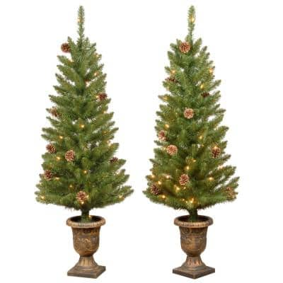 4 ft Montclair Spruce Pre-Lit Potted Artificial Christmas Trees with 70 Warm White Mini Lights (Set of 2)