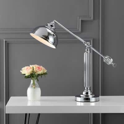Giselle 22 in. Chrome/Clear Metal and Crystal Task Lamp