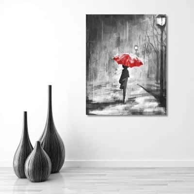 """16 in. x 20 in. """"A Rainy Walk Red Umbrella"""" Wrapped Canvas Wall Art Print"""
