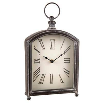 Rustic Distressed Metal Battery Operated Table Clock