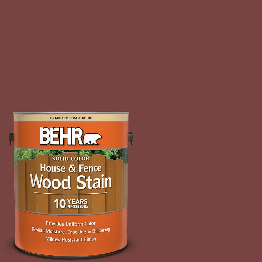 Behr 1 Gal S190 7 Toasted Pecan Solid Color House And Fence Exterior Wood Stain 03001 The Home Depot