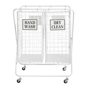 Large White Metal Double Laundry Basket with Wheels and Decorative Signs, 23in x 31.5in