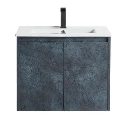 Modern Stylish 24 in. Bathroom Cabinet with Wash Basin without LED Mirror