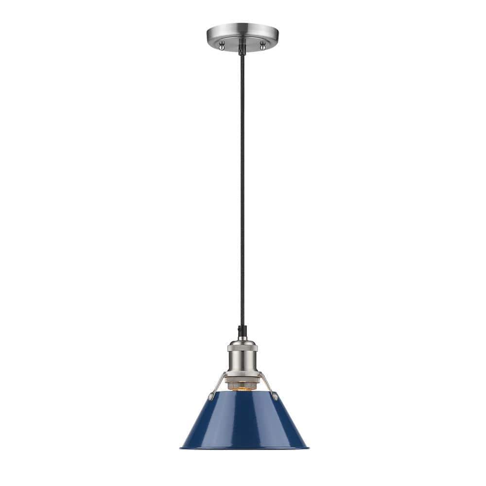 Golden Lighting Orwell Pw 1 Light Pewter Pendant With Navy Blue Shade 3306 S Pw Nvy The Home Depot