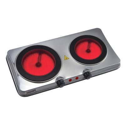 Ceramic Glass 2-Burner 7.3 in. and 6.1 in. Stainless Steel Hot Plate