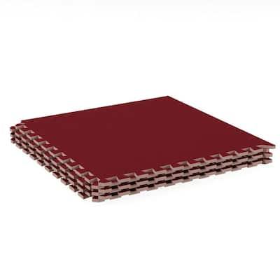 Red 24 in. x 24 in. EVA Foam Floor Mat with Carpet Top (6-Pack)