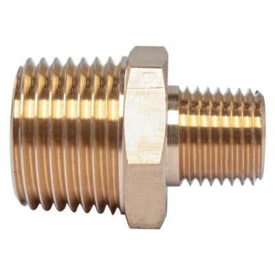 1/2 in. x 1/4 in. MIP Brass Pipe Hex Reducing Nipple Fitting (5-Pack)
