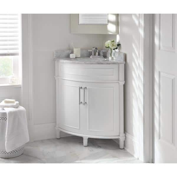 Home Decorators Collection Aberdeen 32 In W X 23 In D Corner Vanity In White With Carrara Marble Top With White Sinks Aberdeen 32w The Home Depot