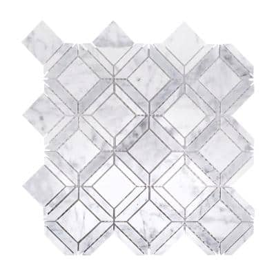 Carlyle Carrara White 11.125 in. x 11.125 in. Geometric Marble Wall and Floor Mosaic Tile (0.859 sq. ft./Each)