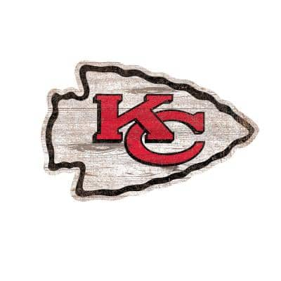 NFL Indoor Kansas City Chiefs Distressed Logo Cutout Wood Sign