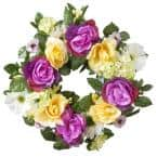 18 in. Decorated Wreath with Daisies, Roses and Hydrangeas