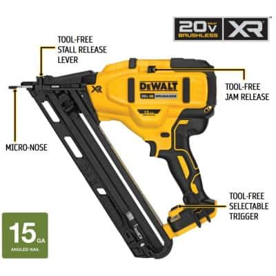 20-Volt MAX XR Lithium-Ion Cordless 15-Gauge Angled Finish Nailer (Tool-Only)