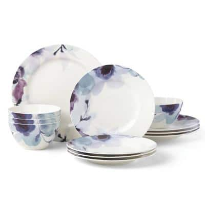 Indigo Watercolor Floral 12-Piece Contemporary Indigo Floral Porcelain Dinnerware Set (Service for 4)