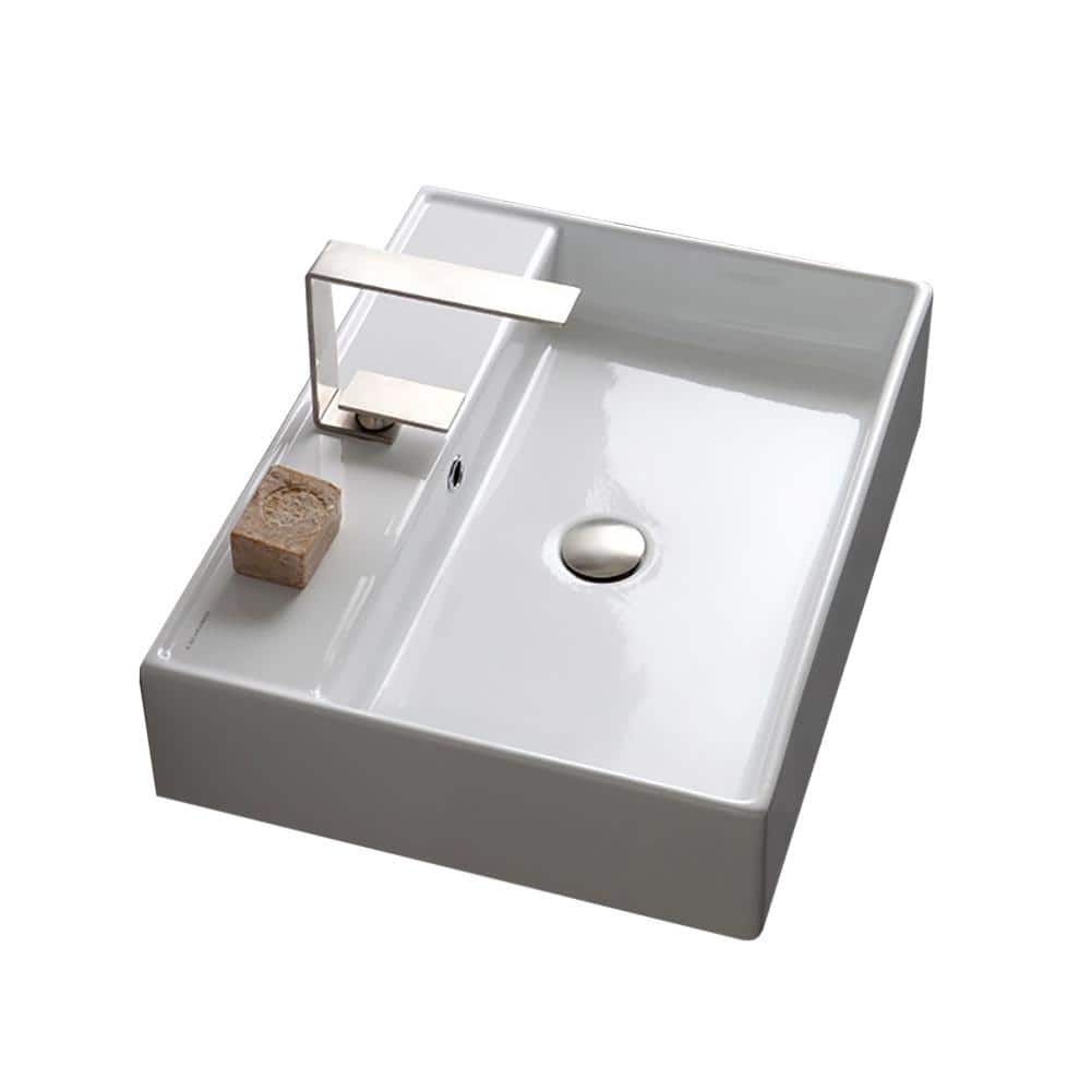 Nameeks Teorema Wall Mounted Bathroom Sink In White Scarabeo 8031 R 60 One Hole The Home Depot