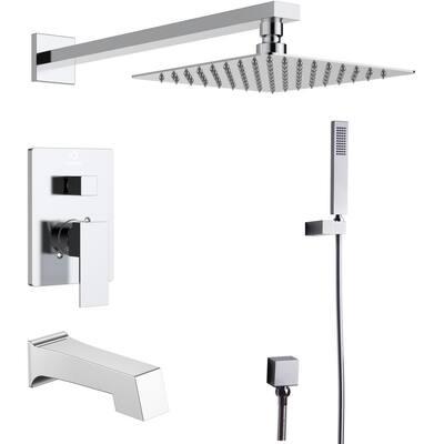 Monte Celo Stainless Steel Square Shower Set - Chrome