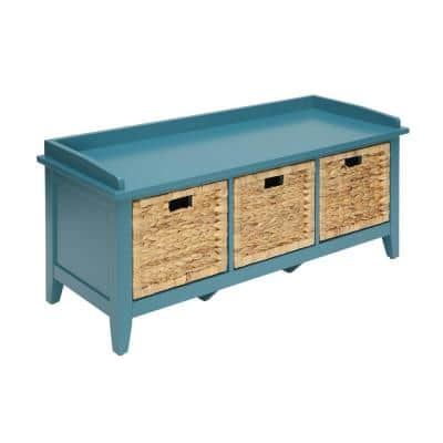 Amelia Teal Solid Wood Leg Storage Rectangular Bench