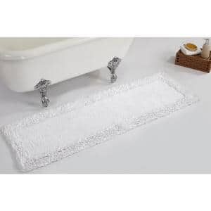 Shaggy Border Collection White 20 in. x 60 in. 100% Cotton Bath Rug