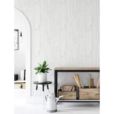 White Barnwood Peel and Stick Sample