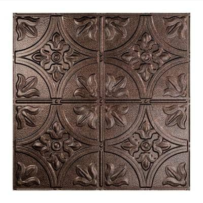 Traditional #2 2 ft. x 2 ft. Smoked Pewter Lay-In Vinyl Ceiling Tile ( 20 sq.ft. )