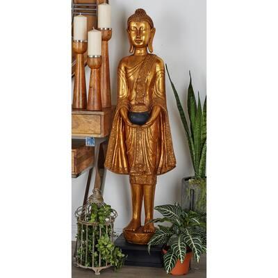 Eclectic 54 in. x 16 in. Resin Floor Buddha Sculpture