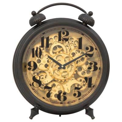Black and Brass Gear Table Top Clock
