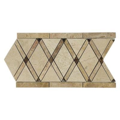 Grand Crema Marfil Border 6 in. x 12 in. x 10 mm Polished Marble Floor and Wall Tile