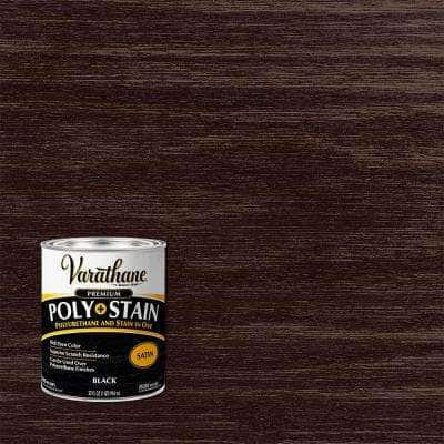 1 Qt. Black Satin Water-Based Interior Wood Stain and Polyurethane (2-Pack)
