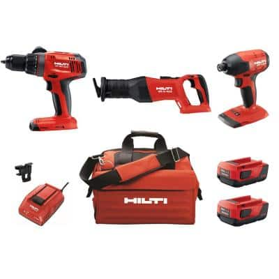 22-Volt Lithium-Ion Keyless Chuck Cordless Hammer Drill Driver/Impact Driver/Reciprocating Saw Combo Kit (3-Tool)