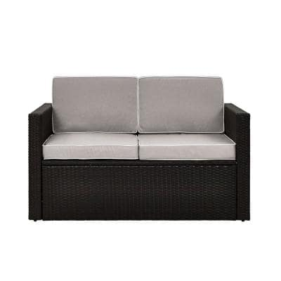 Palm Harbor Wicker Outdoor Loveseat with Grey Cushions