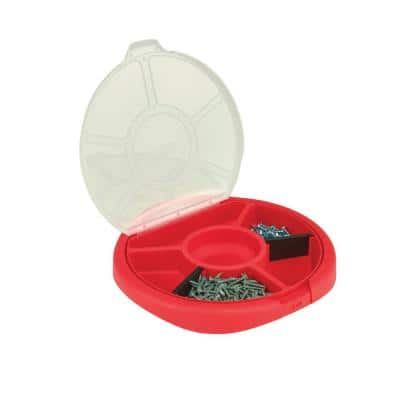 12.25 in. 5 Gal. Bucket Plastic Seat Lid Small Parts Organizer in Red