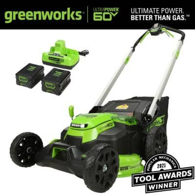 PRO 25 in. 60V Battery Self Propelled Walk-Behind Lawn Mower with (2) 4.0 Ah Batteries and Charger